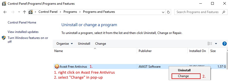 avast uninstall for windows 10